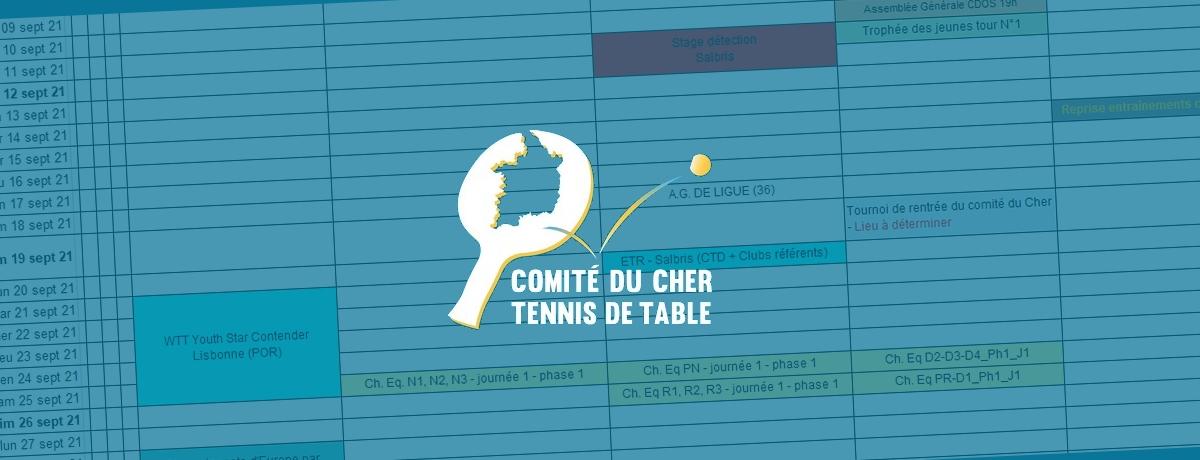 Calendrier Tennis De Table 2022 Le calendrier de la saison 2021 2022   Comité du Cher de Tennis de